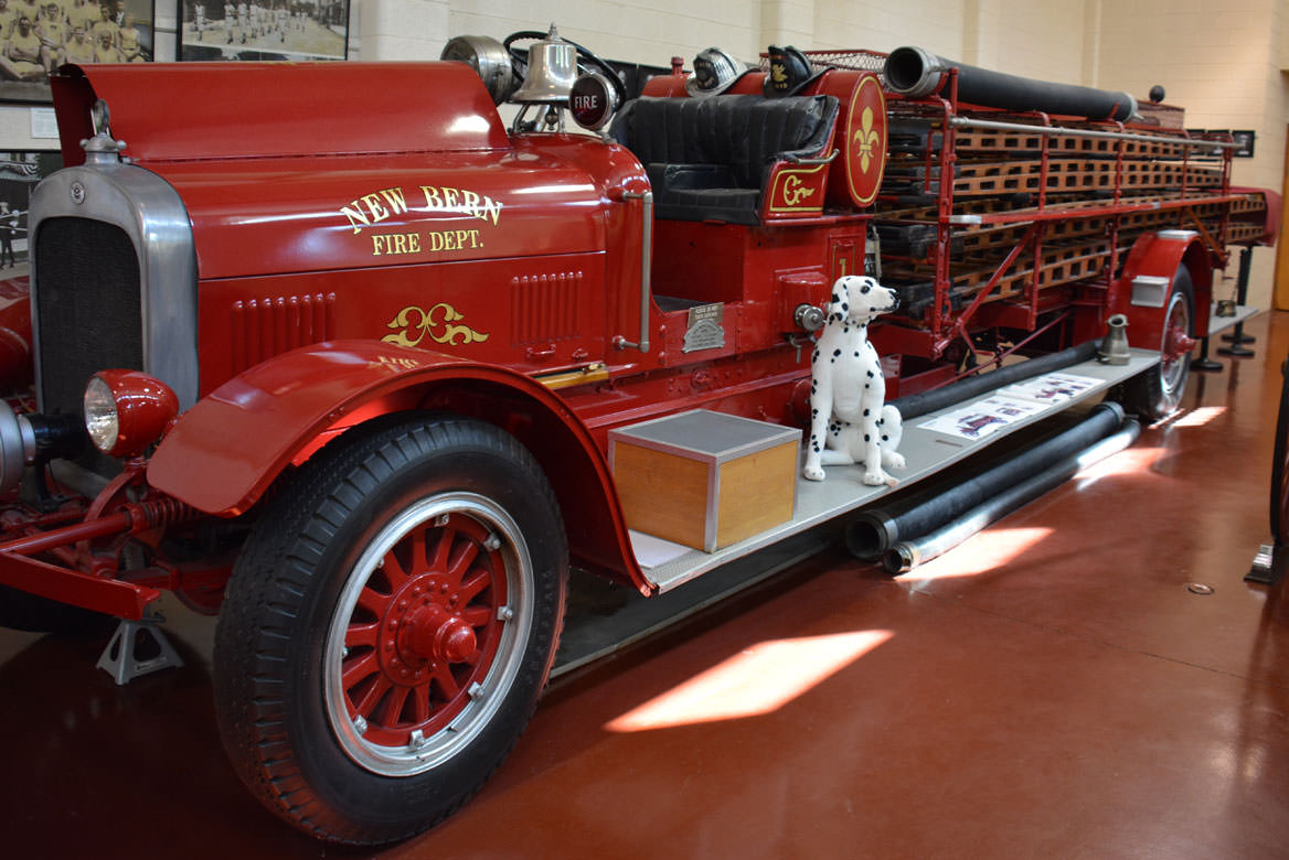 Historic fire engine on display in the museum