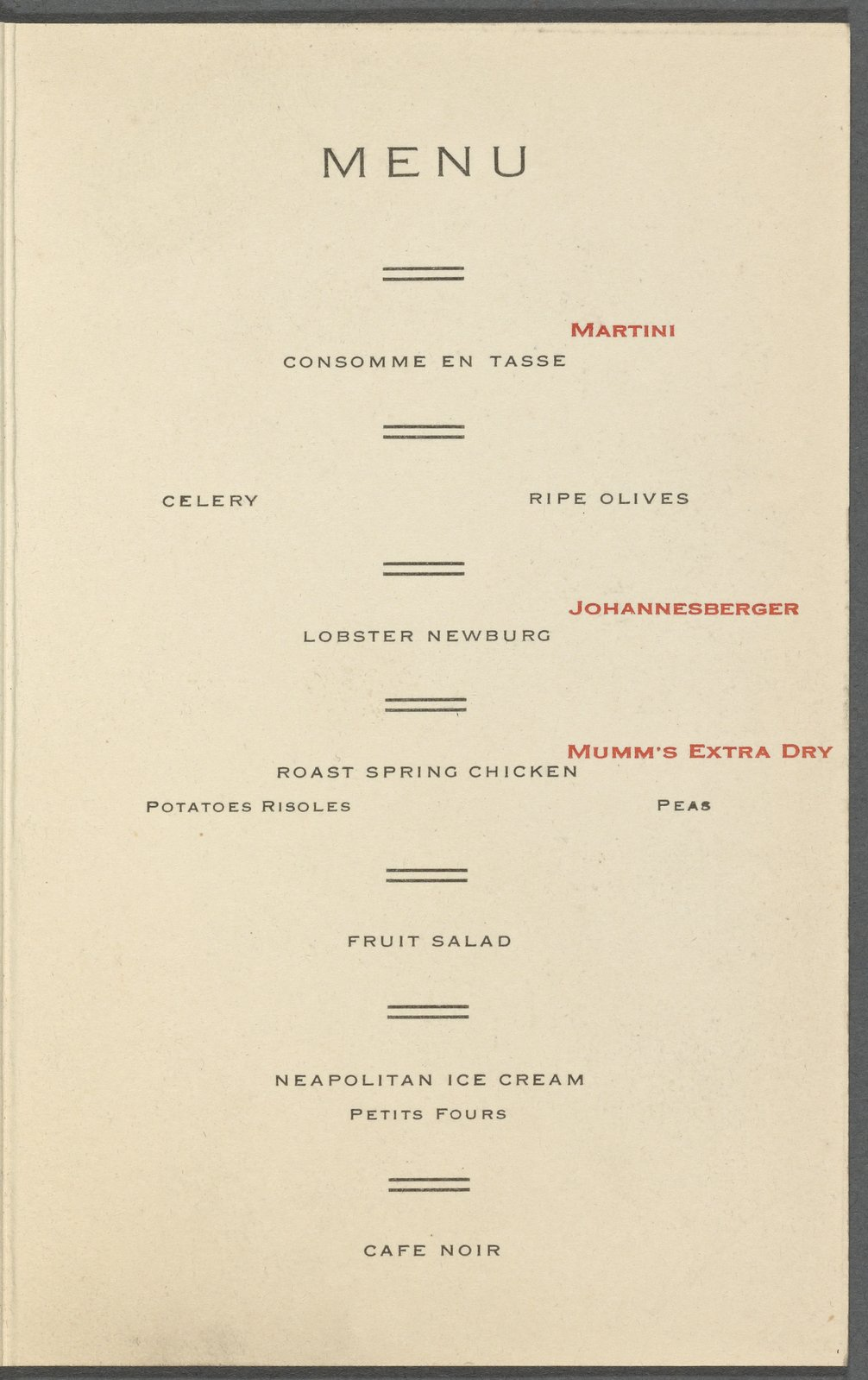 A 1912 menu from a special event at the hotel.