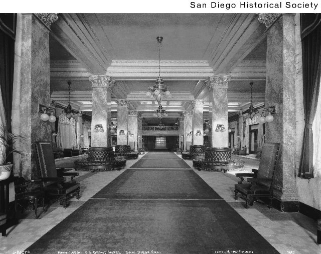 View of the Grant's opulent lobby in 1910, when the hotel was brand new. The hotel's original $1.9 million construction cost is equivalent to over $45 million in 2018.