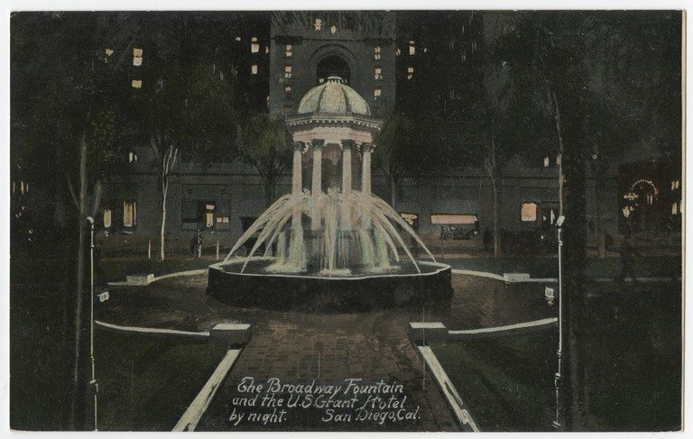 A 1915 view of the world's first electrically lit fountain, allowing for this photograph to be taken at night--a rarity for the era, as the sensitivity of film stocks at the time made it difficult to expose film properly in dark environments.