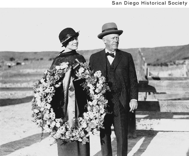 The Hotel's founder, Ulysses S. Grant, Jr. and his wife at San Diego racetrack in 1923, only a few years after selling the hotel. Grant's primary business after moving to San Diego was real estate.