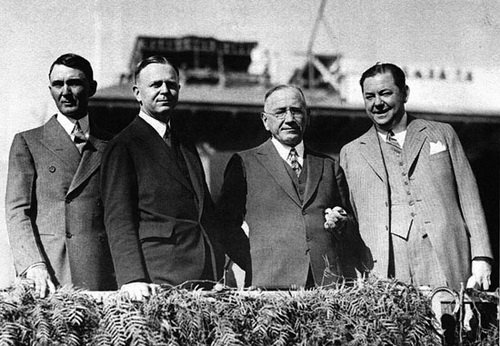 Baron Long, far right, with a number of his business partners. Prohibition racketeering, real estate, horse racing, hotels--Long was a powerful figure in Southern California from the 1910s to 1940s. He kept a stake in the hotel until 1944.