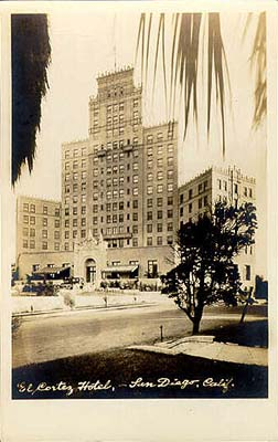 Historic photo of the hotel from the San Diego History Center