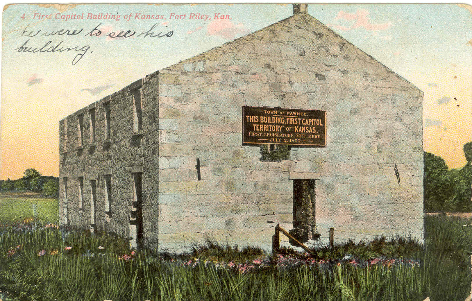 Painting of the original stone structure where the first territorial legislature met.