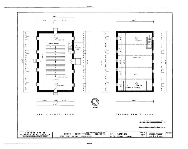 Original floor plans of the historic Pawnee capital building.