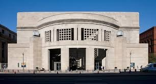 The front of the United States Holocaust Memorial Museum. The museum serves as a living memorial as well as a place of education and dialogues about Antisemitism and genocide.