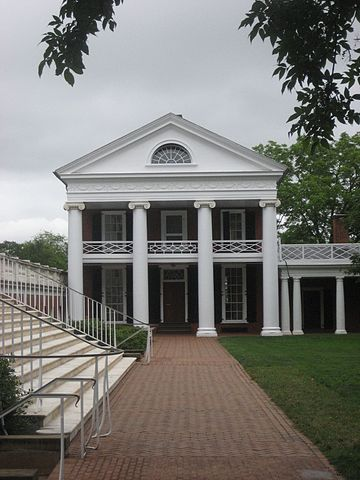 Pavilion II (center) and the stairs and columns of the Rotunda (left) in the Academical Village of the University of Virginia