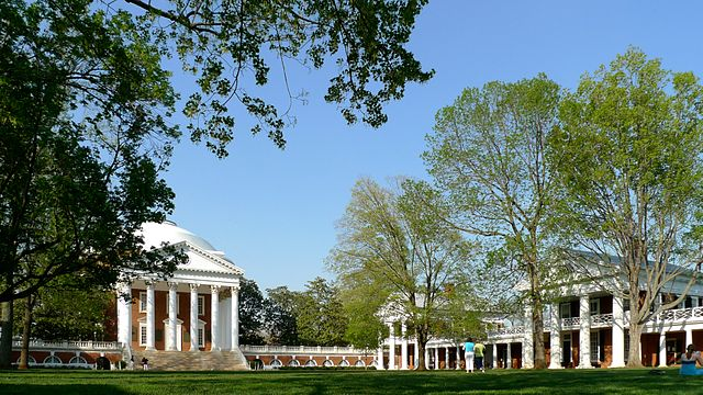 The Lawn of the University of Virginia, USA, with the Rotunda (left) and Pavilions II (middle) and IV (right)