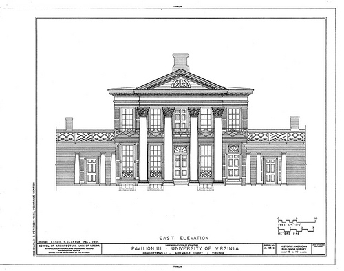 Drawing of Pavilion III, The Lawn, University of Virginia campus