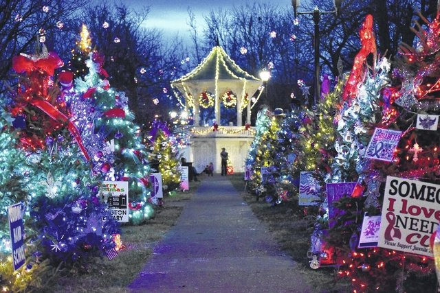 The park decorated for Christmas. From the Gallipolis Daily Tribune.