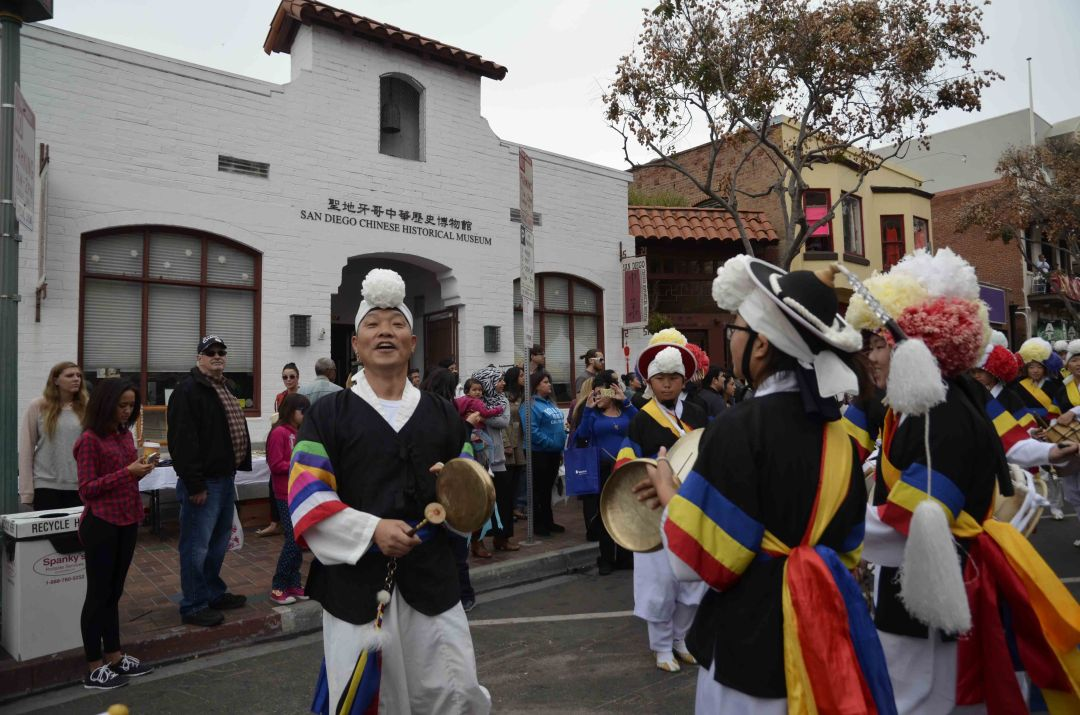 A cultural event outside the San Diego Chinese Historical Museum