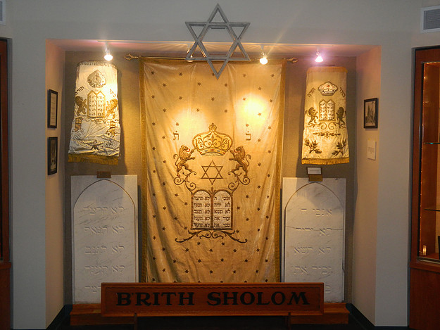 Archive museum exhibit of items from the Brith Sholom Congregation's history