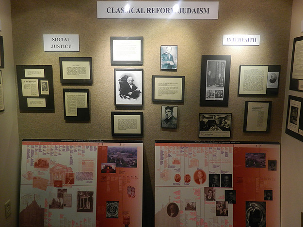 Archive museum exhibit on the history of Reform Judaism