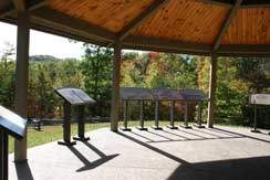 View from inside the interpretive pavilion