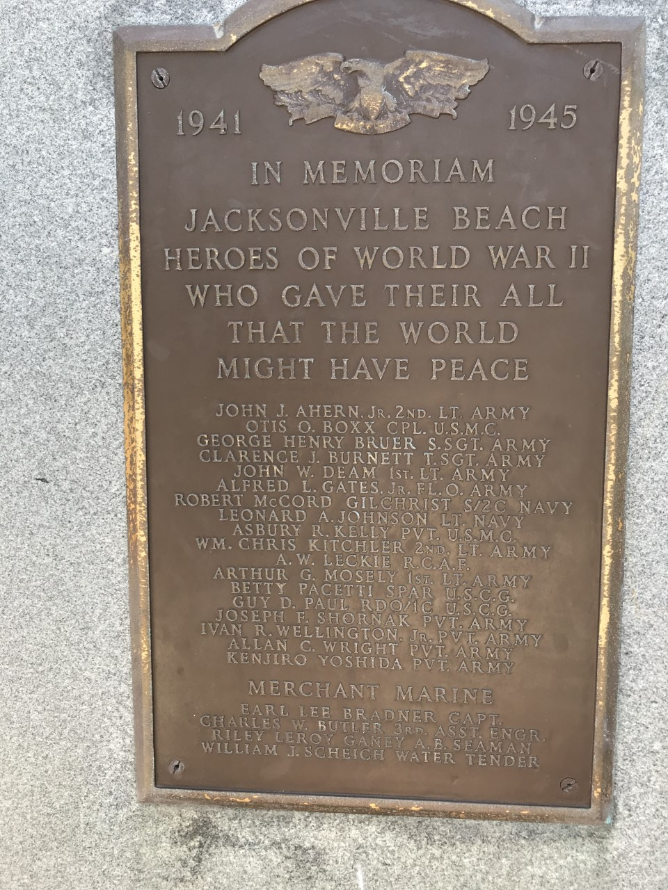 Jacksonville Beach Heroes of World War II at Beach Blvd. & 2nd. Ave N.