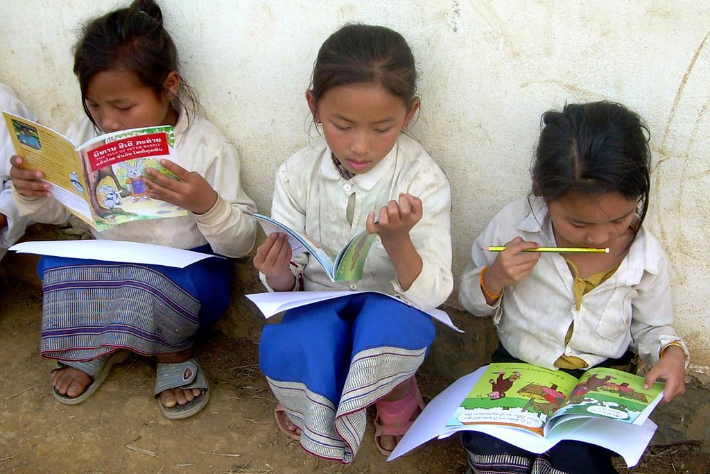 Children in Laos reading