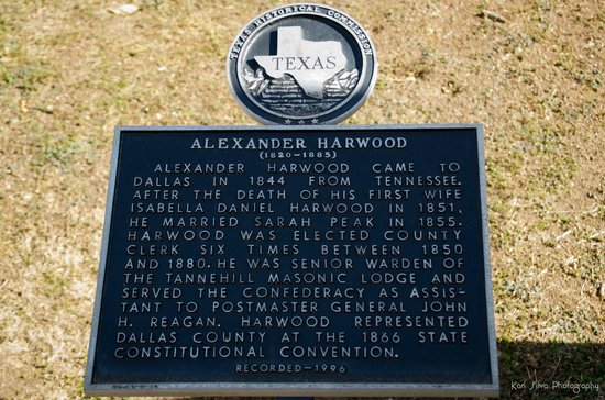 One of many historical markers placed at the graves of notable people who contributed to the development of the city, Alexander Harwood in this instance.