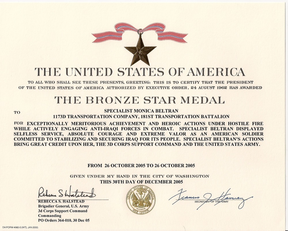 Monica Beltran's Bronze Star Certificate, courtesy of John W. Listman Jr., Virginia National Guard and Fort Pickett Museum, Blackstone, Va.