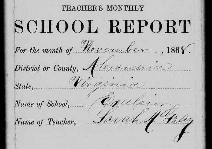 Sarah A. Gray's signed school report to the Freedmen's Bureau, November 1858, image courtesy of the National Archives and Records Administration, Washington, D.C.