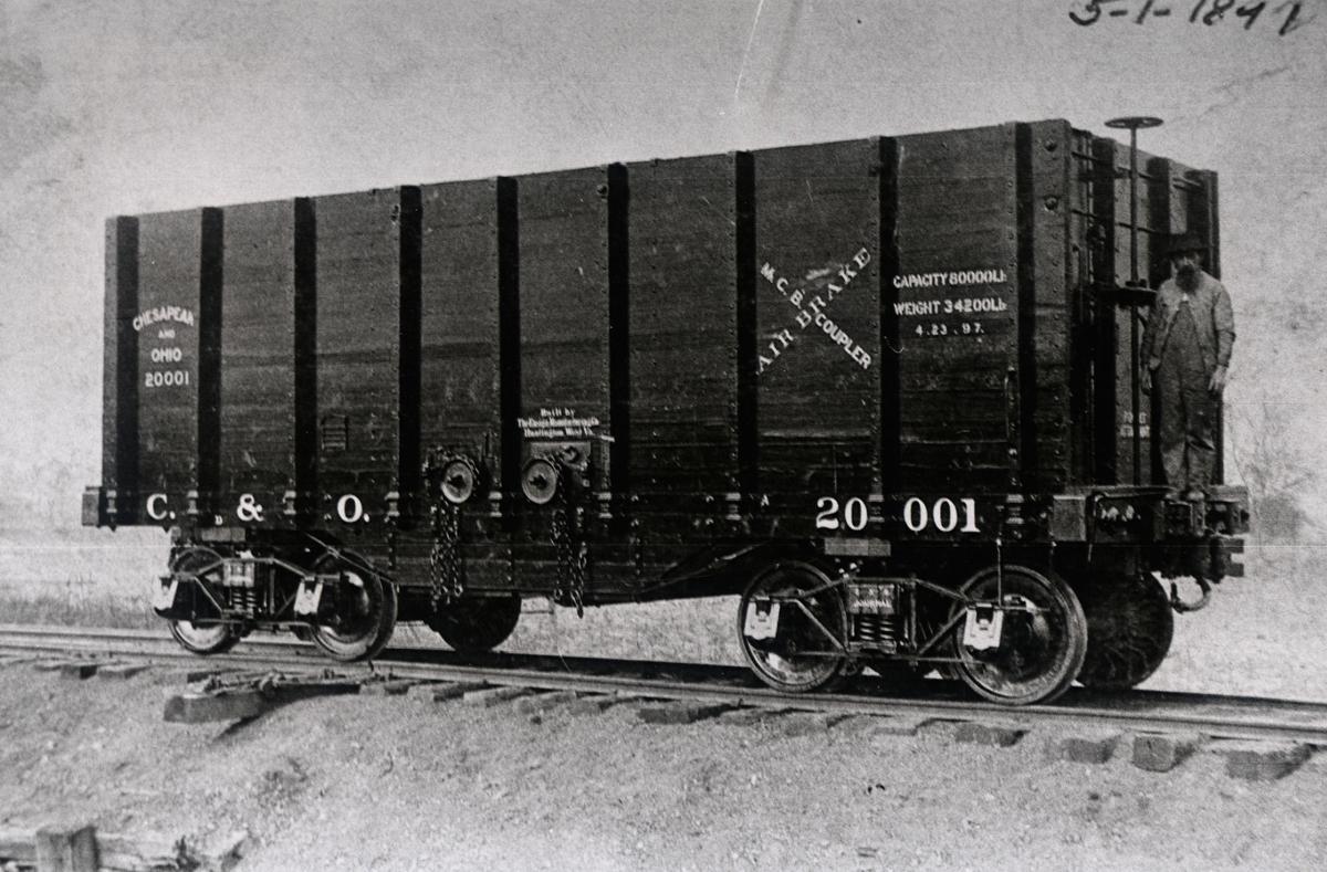 A railcar built by Ensign Manufacturing, circa 1892