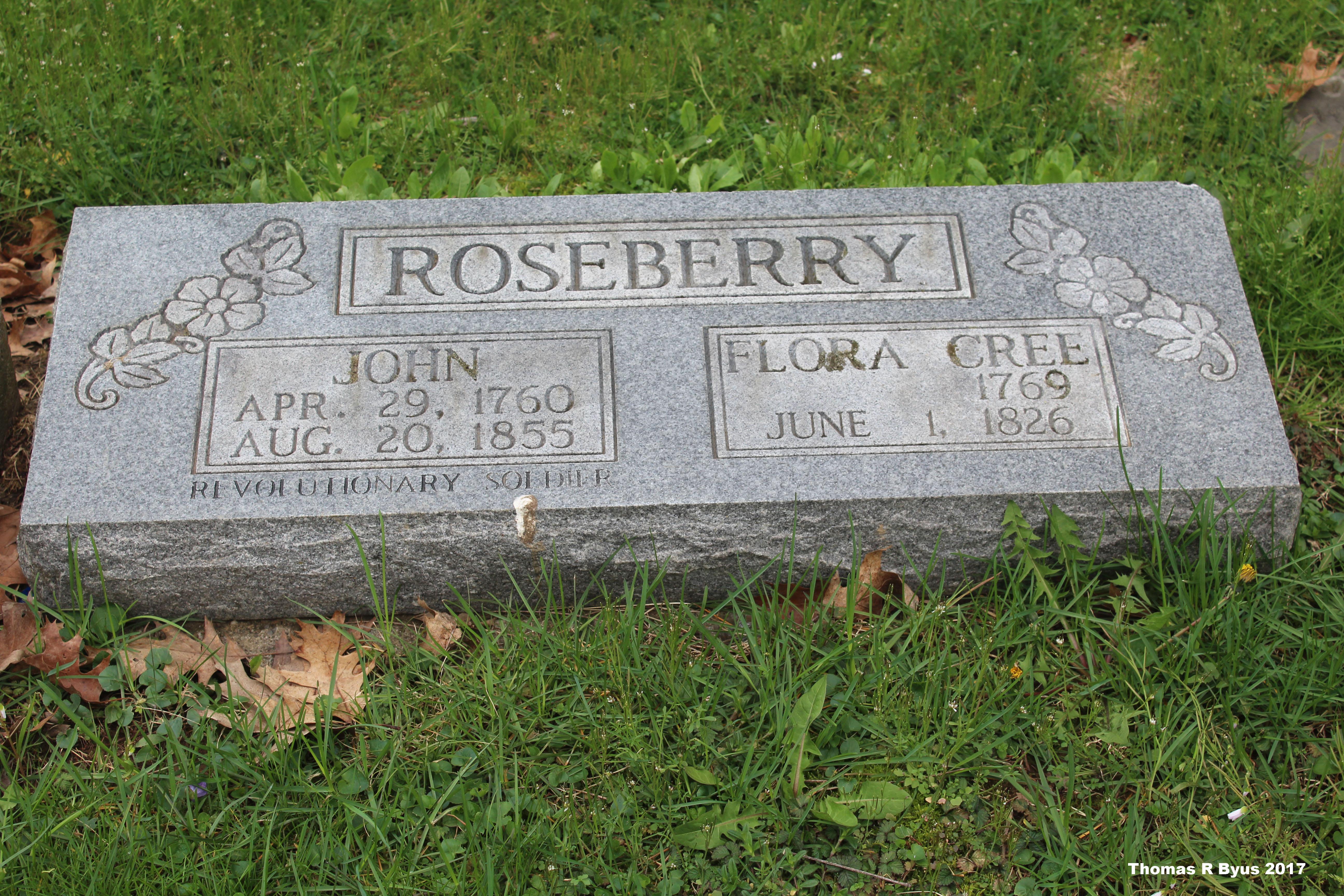 John Roseberry's updated grave marker at Pioneer Cemetery.
