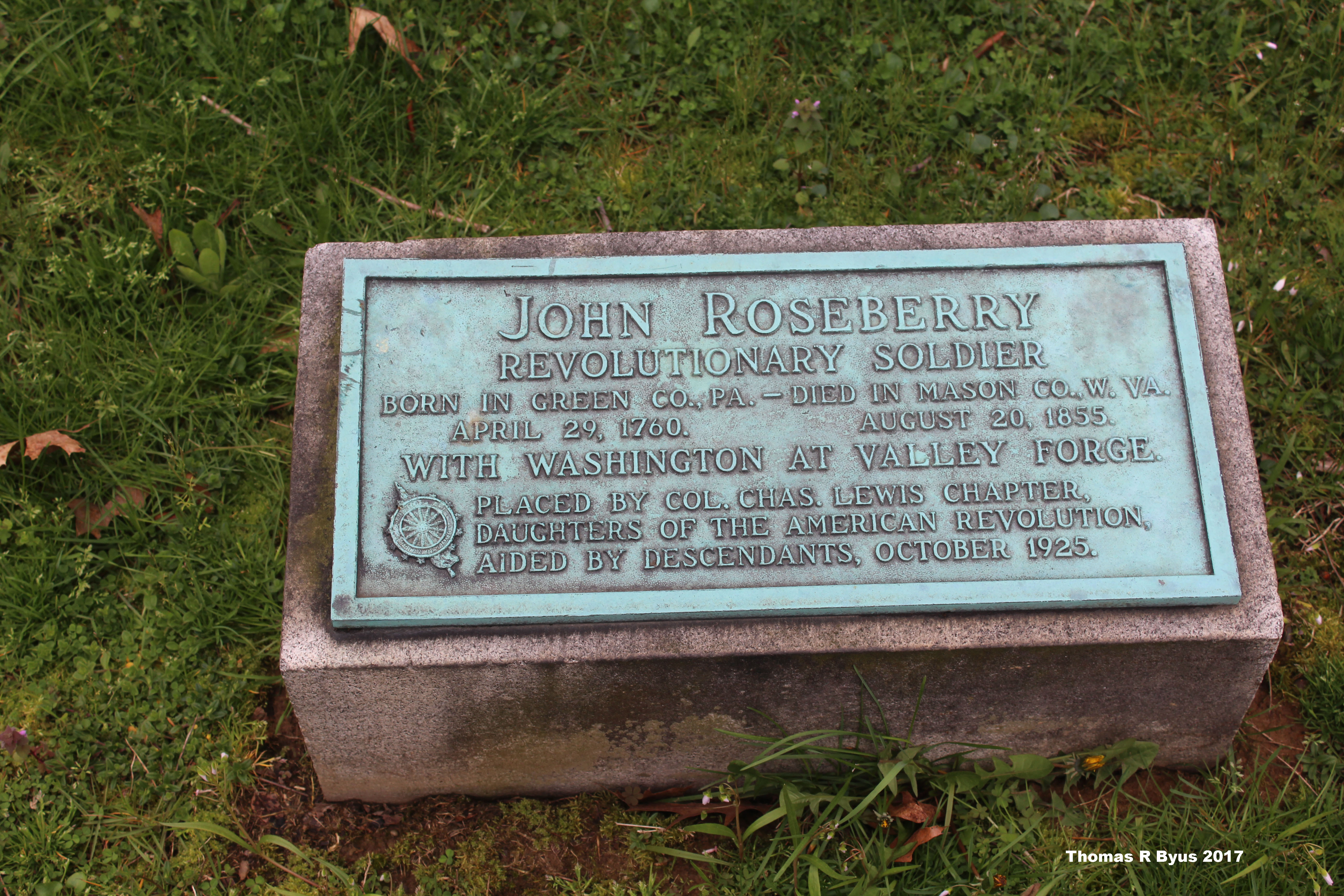 The Daughters of the American Revolution plaque near Roseberry's replaced marker.