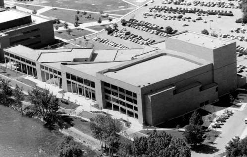 View of the Velma V. Morrison Center from above, resembling the shape of the state of Idaho.   Photo Courtesy of Boise State University Library, Special Collections and Archives.