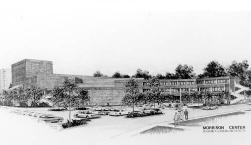 Proposed design of the Velma V. Morrison Center by Lombard-Conrad Architects.  Photo Courtesy of Boise State University Library, Special Collections and Archives.
