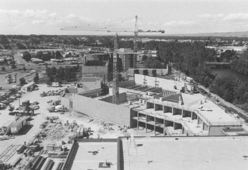 Construction of the Velma V. Morrison Center ca. 1983.  Photo Courtesy of Boise State University Library, Special Collections and Archives.