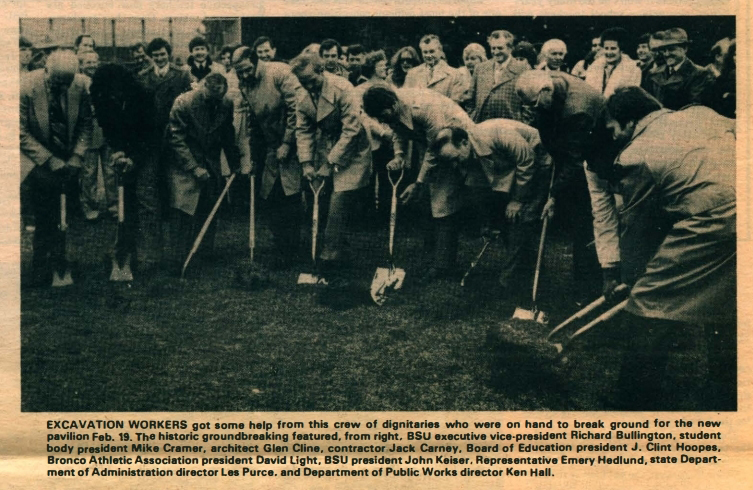 Breaking ground on February 19, 1980. Provided by BSU Special Collections.