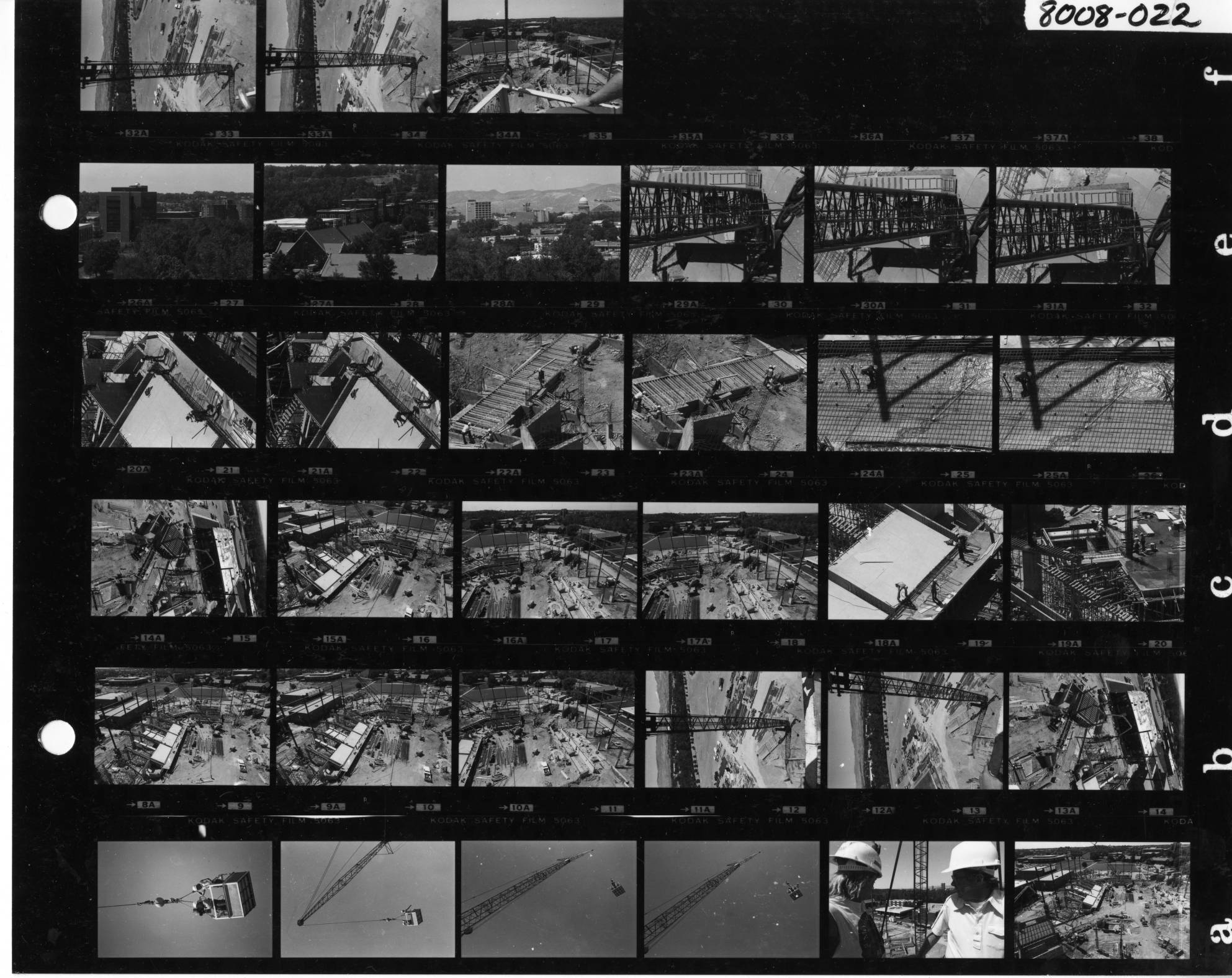 Contact sheet of facility under construction. Provided by BSU Special Collections.