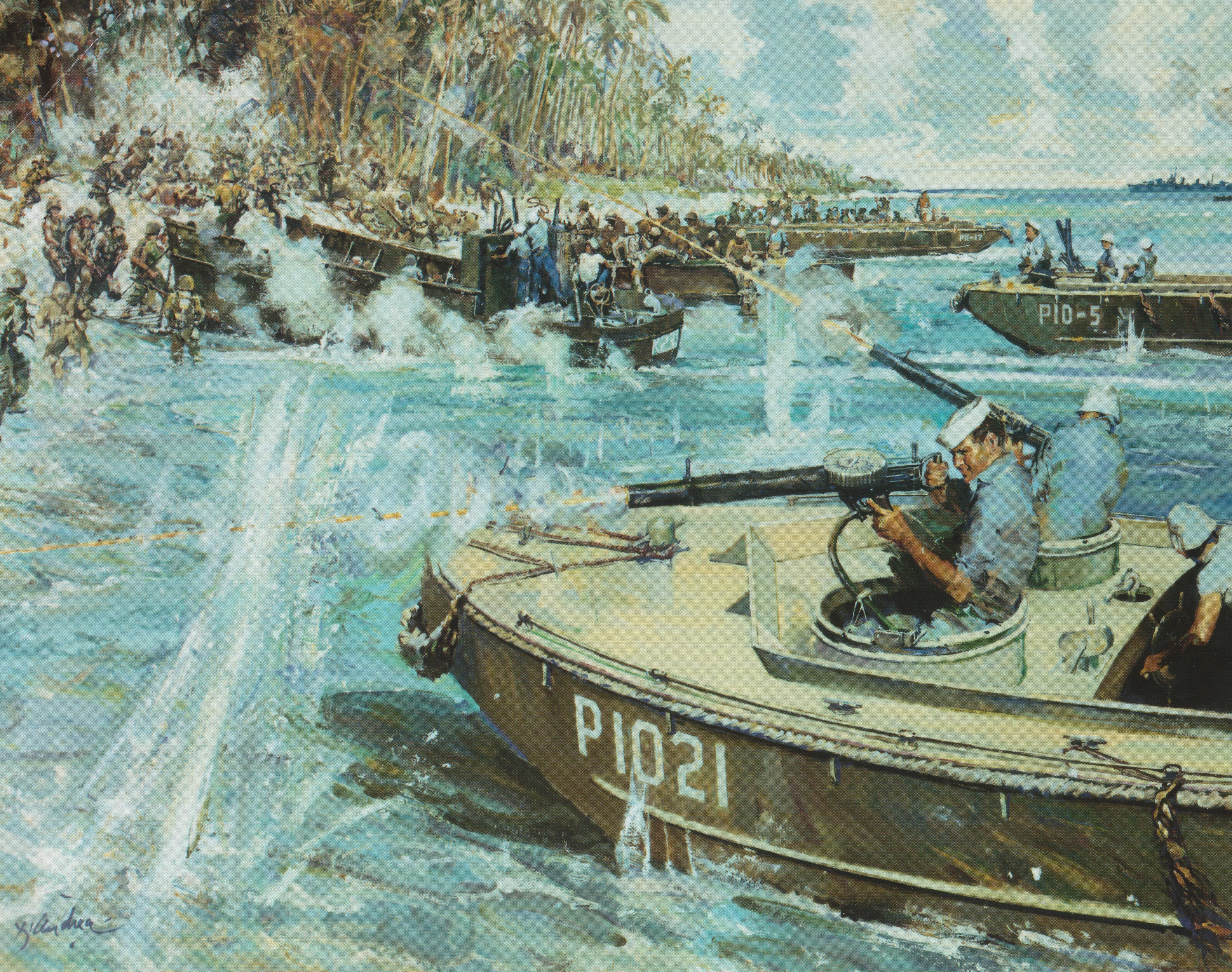 Artwork depicting Munro during the engagement at Guadalcanal. This image was found at-