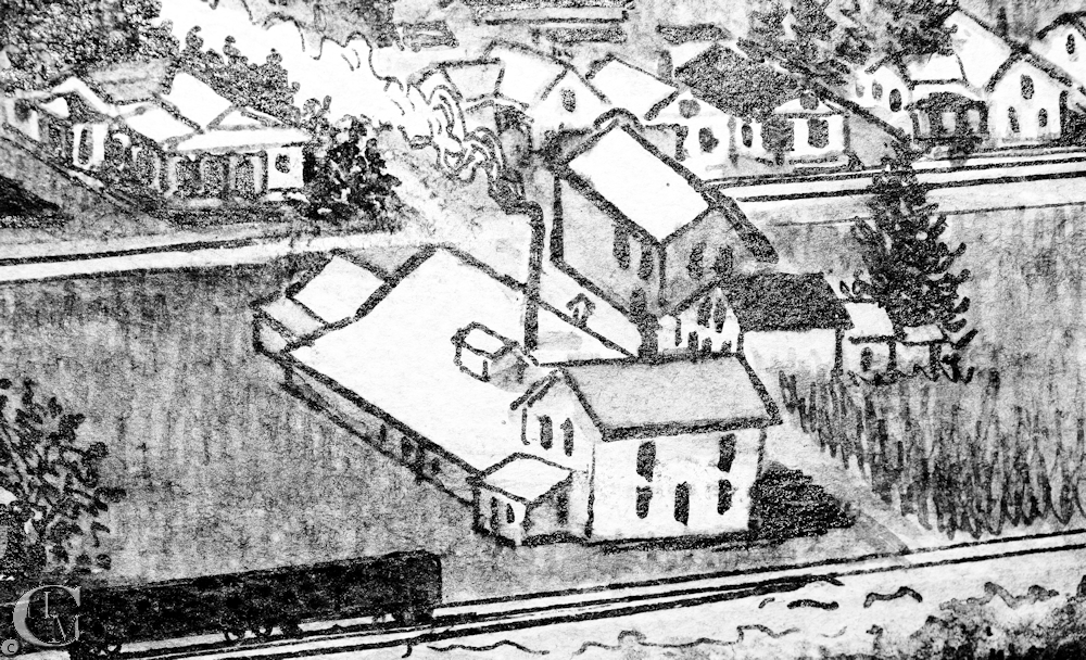 As depicted in a 1915 sketch of the town.