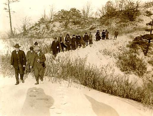 The first director of national parks, Stephen Mather, visits the Indiana Dunes area in 1916 accompanied by Richard Lieber, the father of the Indiana state parks system.