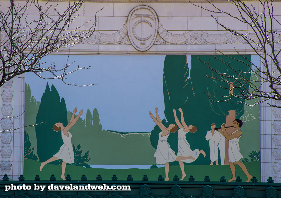 A close-up of the Grecian pastoral mural, painted by H. A. Wheeler, located above the theatre's entrance.