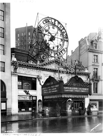 "The Hilbert Circle Theatre, circa the early 1930s.  The marquee is advertising a ""talkie"" by Harold Lloyd entitled ""Feet First.""  The huge clock has since been removed."