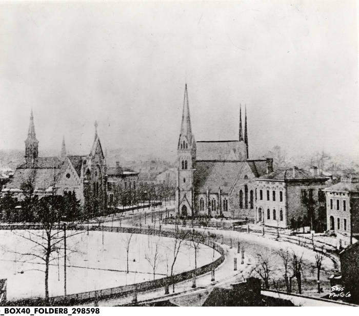 This photo was taken of the cathedral around 1875, not long after the spire was added in 1869.