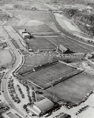 Arial view of the 1940s Bronco Stadium