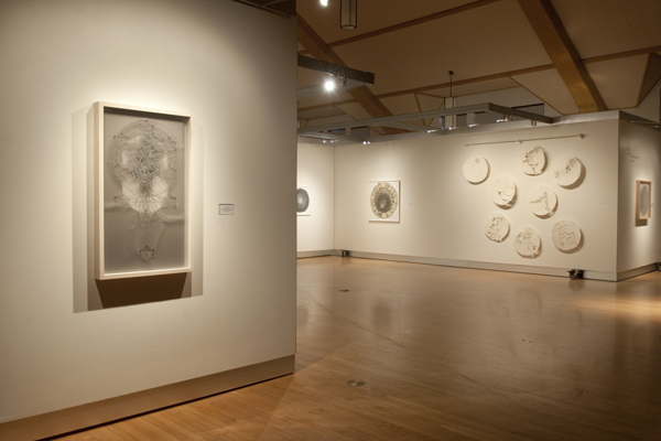 Interior view of main hall. Temporary exhibit in gallery shown.