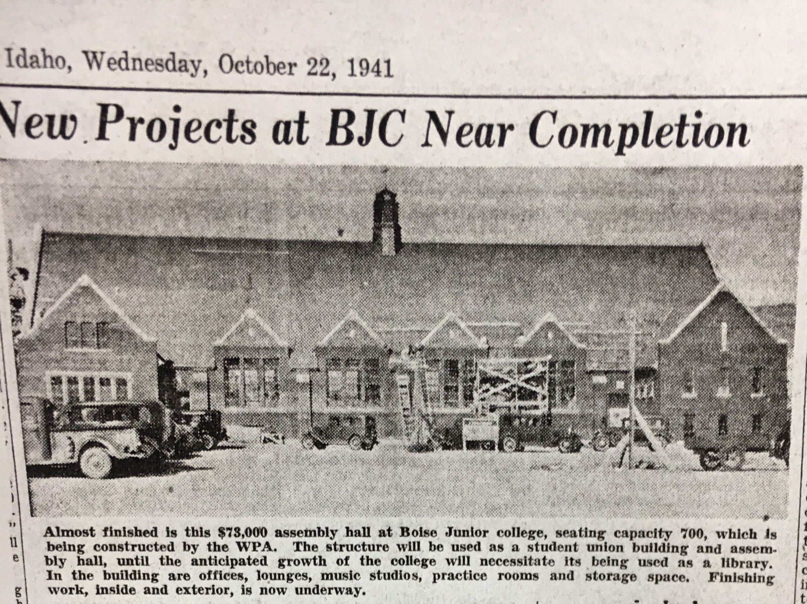 Photo of almost-completed Assembly Hall fall, 1941.  source: Boise Capital News. October 22, 1941.