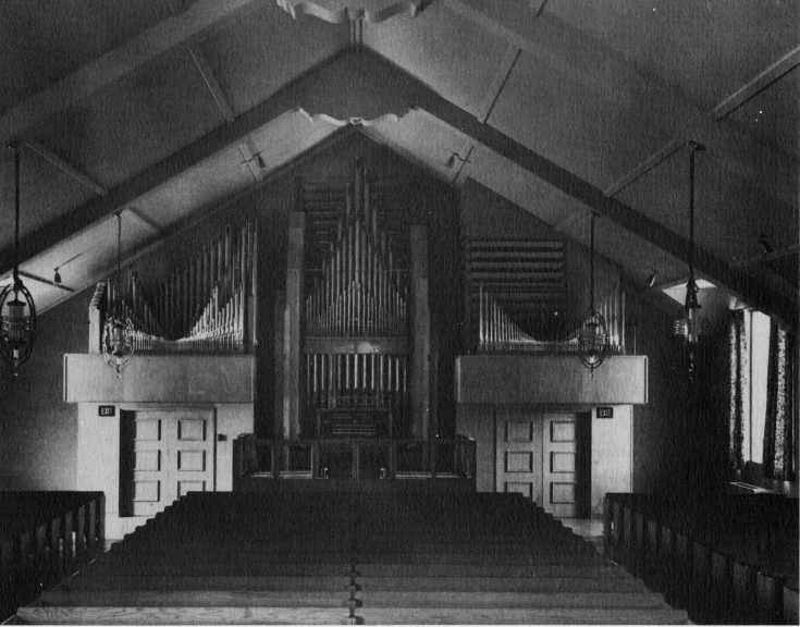 Image of interior of assembly hall in 1953. 