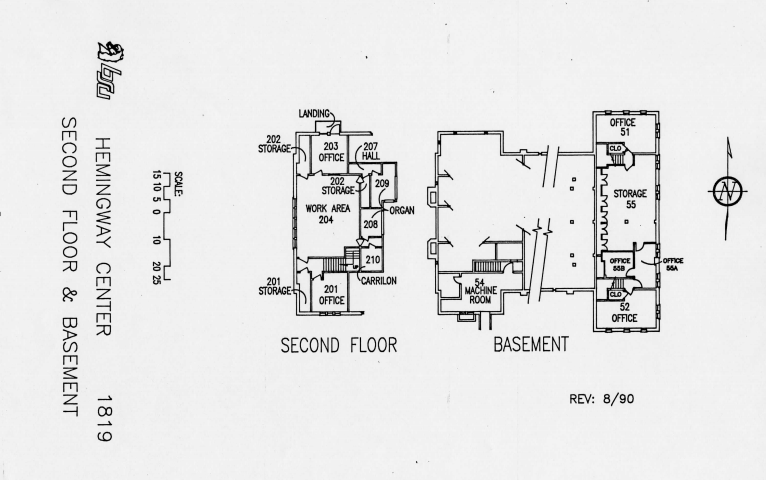 Second Floor and Basement of Assembly hall floor plan
