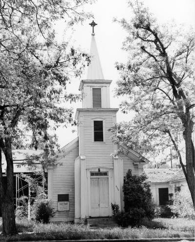 Historic photo of Christ Chapel at its second location on 15th St. & Ridenbaugh. Provided by Boise State University Library, Special Collections Archives.