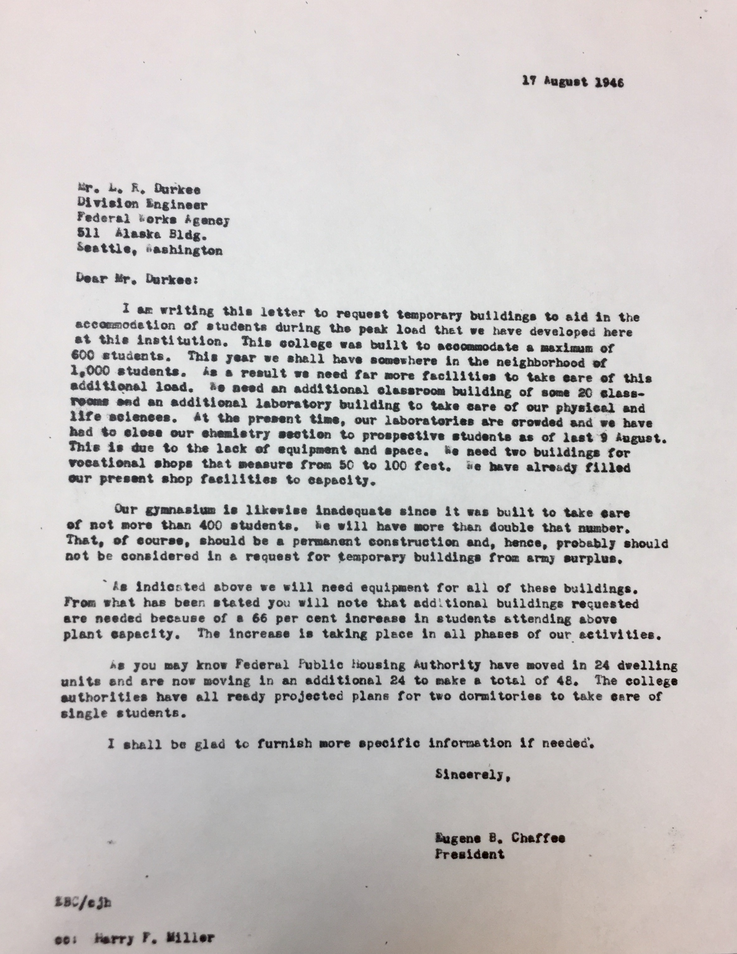 Letter sent from President Chaffee while deployed in Navy proposing new dormitories for Boise State College (August 17, 1946)