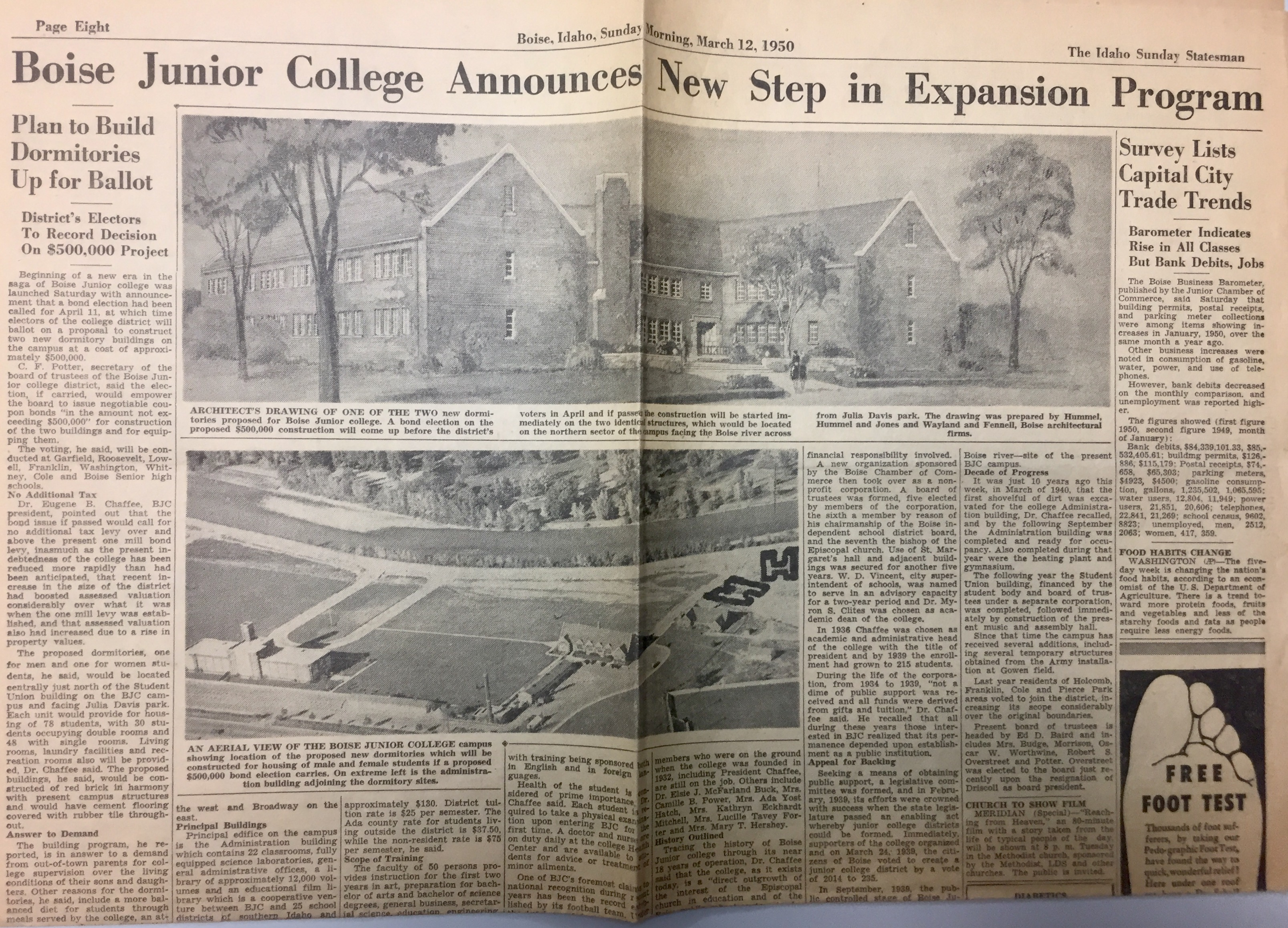 The Idaho Sunday Statesman Article documenting Boise State College's Plan to Expand (March 12, 1950)