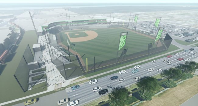 2019 rendering of the Marshall University baseball stadium