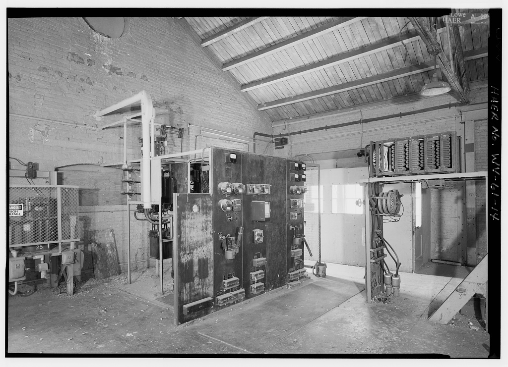 An electrical panel inside the power plant. Much of the interior machinery remains. Image obtained from the Library of Congress.