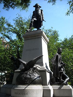 The statue depicts Kosciuszko holding a map of the fortifications at Saratoga in his right hand and a sword in his left.