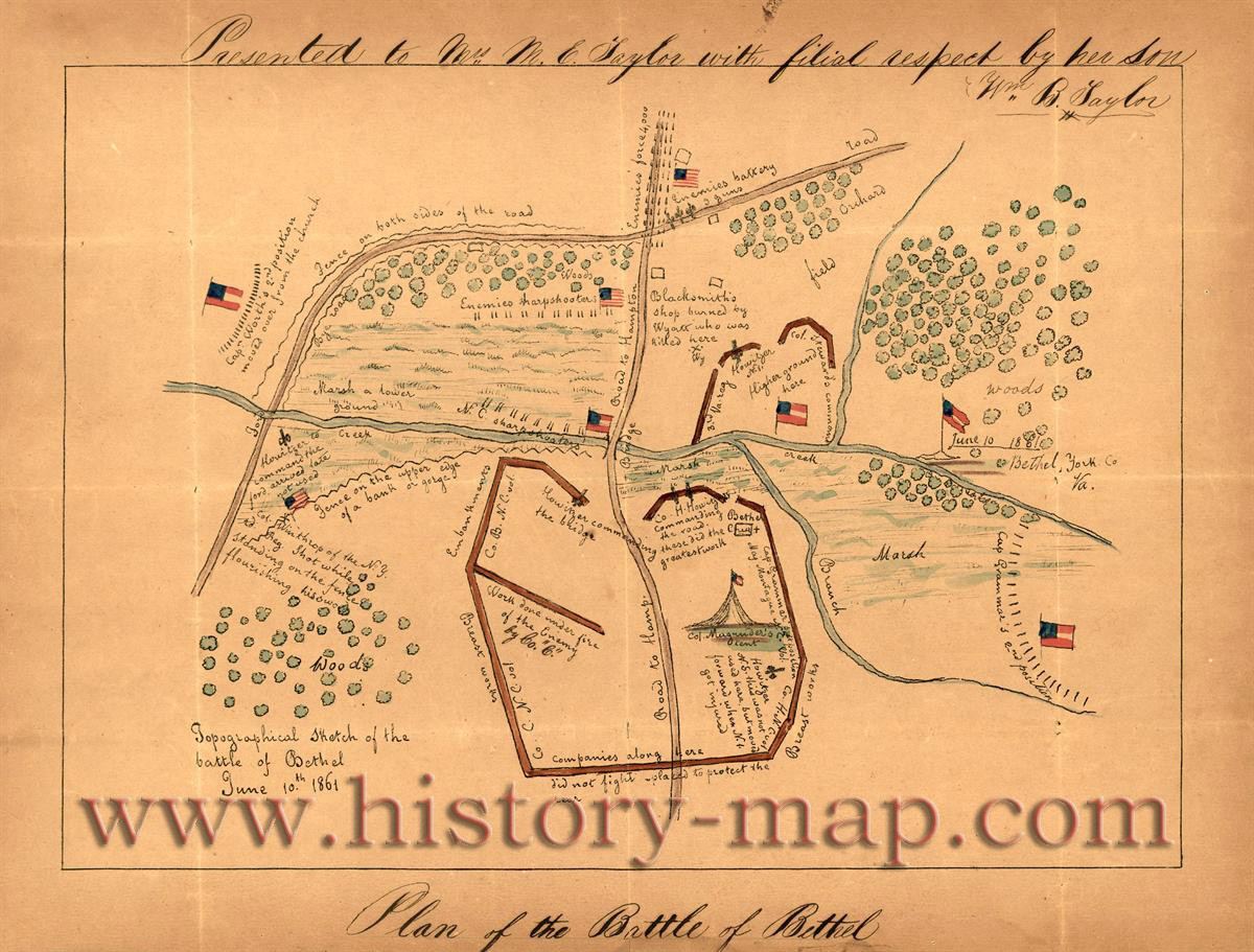 Original map of the Battle of Big Bethel.  Believed to be the first map drawn during the Civil War.