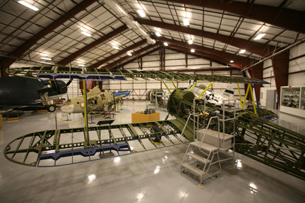 The museum includes two hangars, including one where they repair historic aircraft.